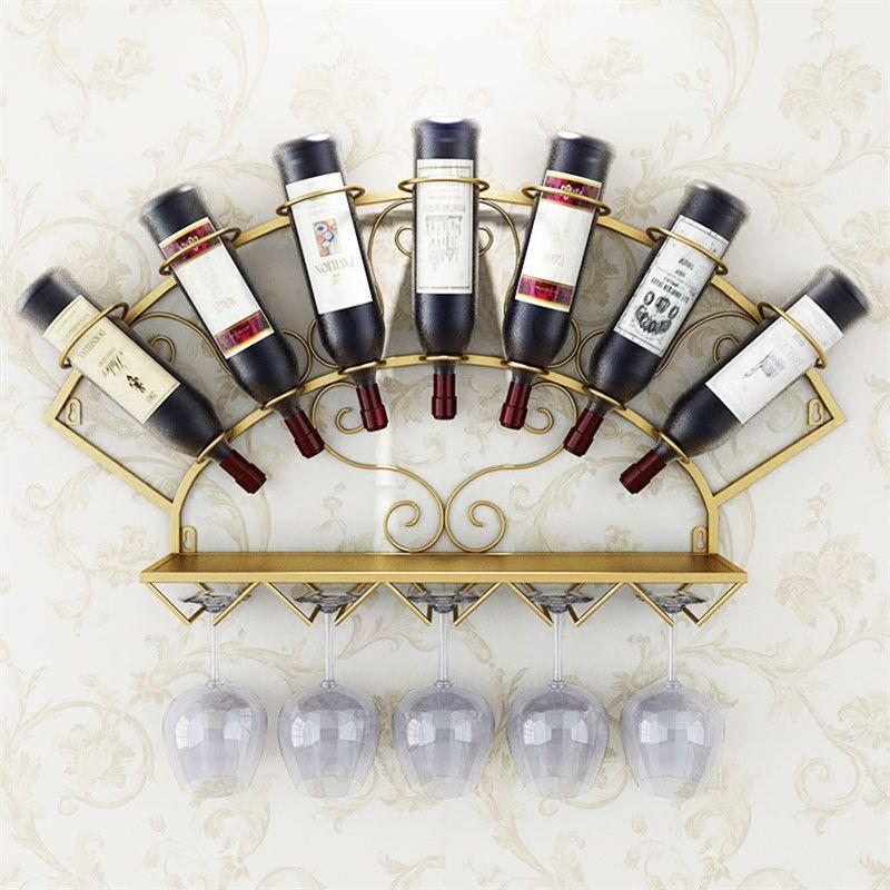 Wine Modern cremalheira do metal titular para 7 garrafas Wall Mounted Wine Bottle cremalheira Copos armazenamento prateleira Whisky Red Wine Preferenciais