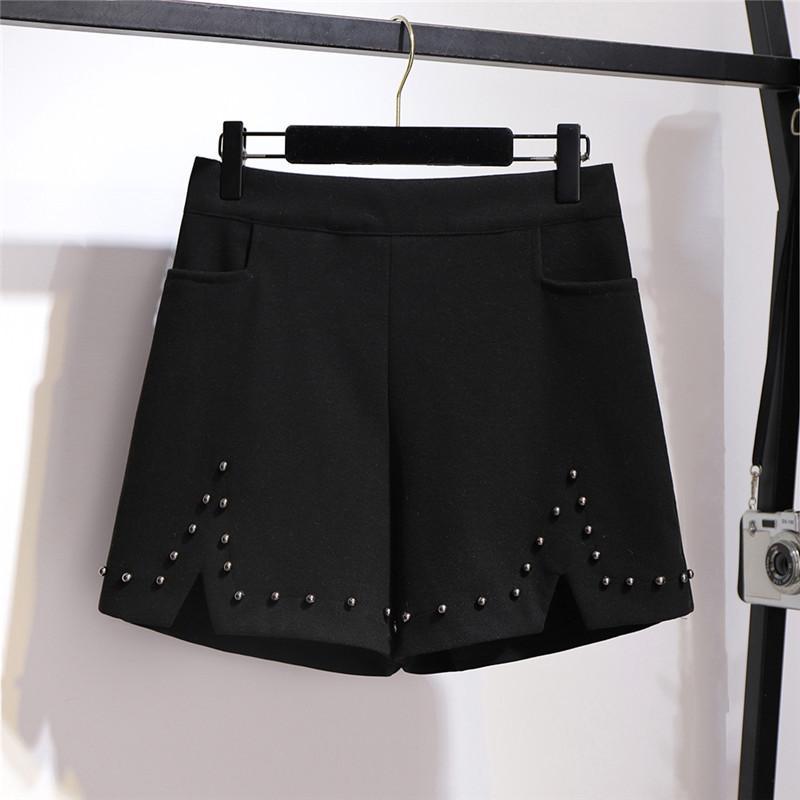 Oversize lã perna larga Calças curtas Mulheres Outono Inverno cintura elástica Hot Pants Plus Size XXL-6XL Feminino frisada Casual