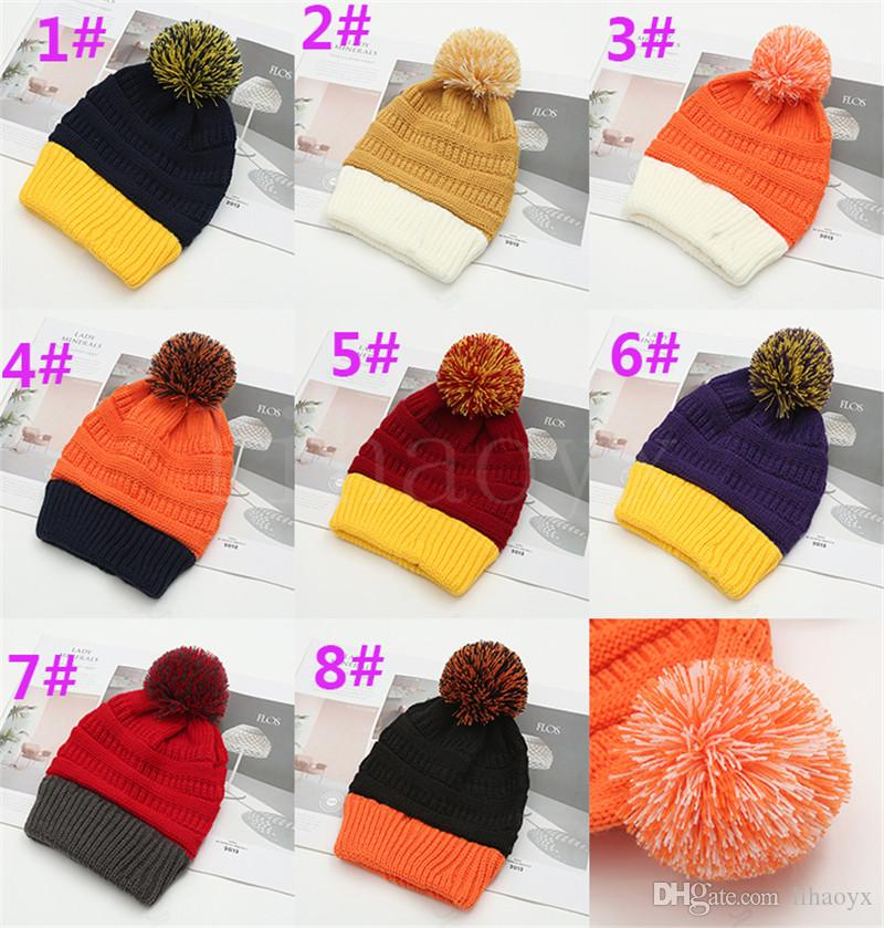 8 styles Color Match Winter knitted Hat Pom Pom Beanie Knitted Hats Patchwork Warm Knitted Beanies Casual Outdoor Caps DA063