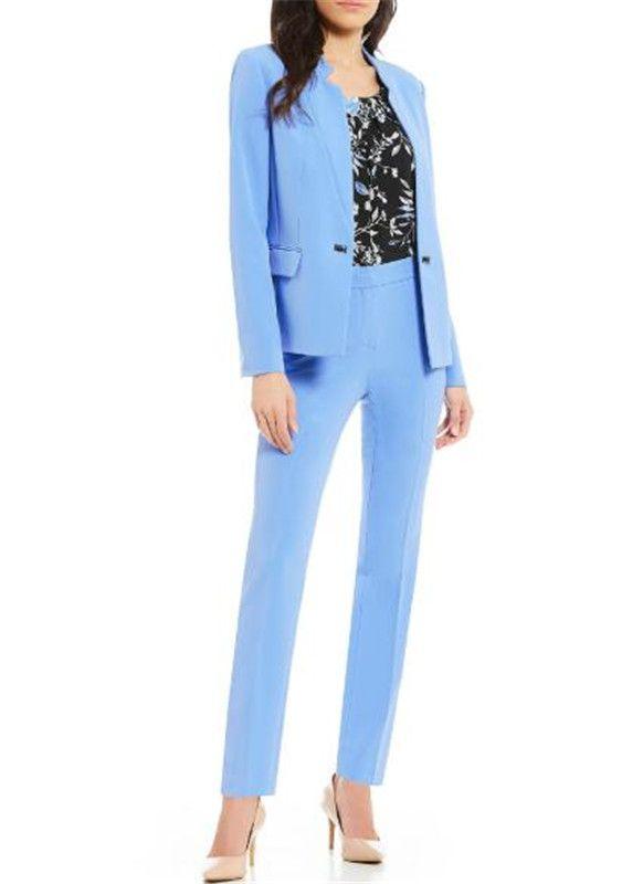 Custom Made Blue Women Pantsuit Jacket Women Fashion Long Sleeve Suit Tailored Collar Jacket Suits Female Ladies