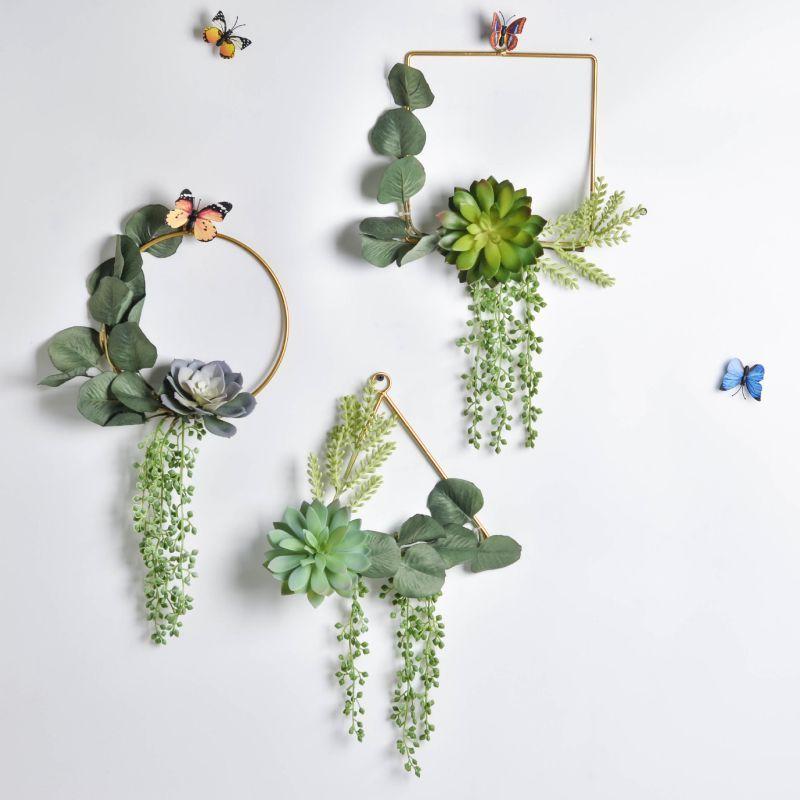 Partido Artificial casamento de suspensão Garland Plástico Simulação Fleshy Ferro grinalda Nordic minimalista Artificial Green Recados Pendant