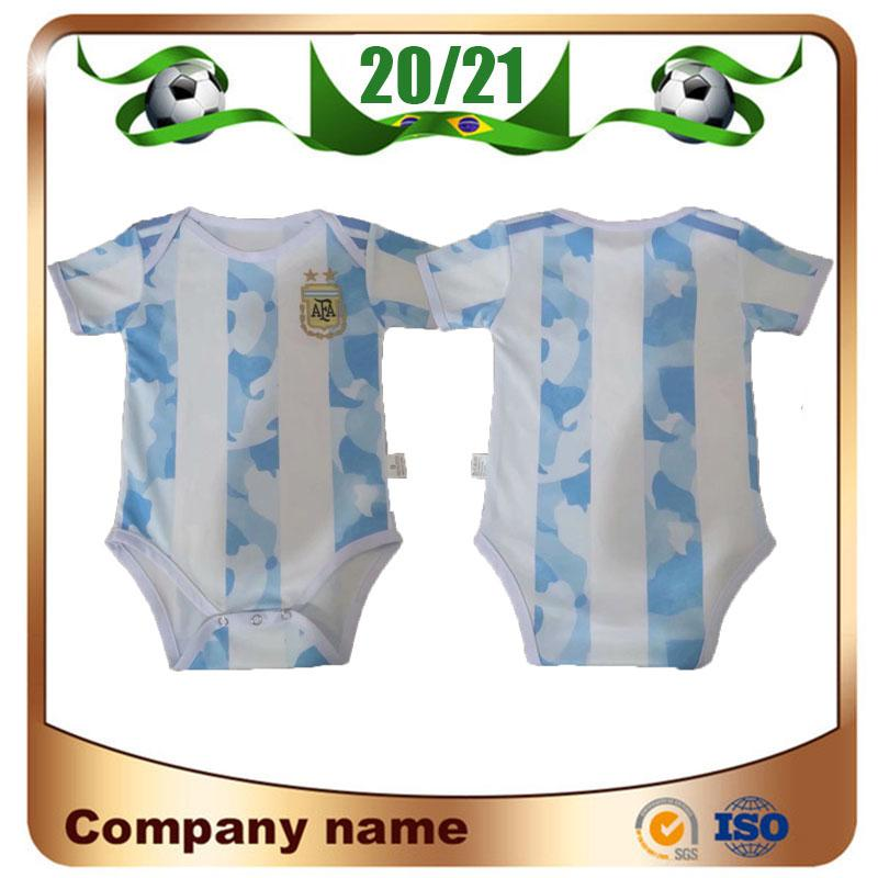 20/21 Argentinien Americas Cup Home 2020 Baby-Kind-Kit Argentinien Fußball-Trikot 10 Messi Fußball Kleidung 9-18 Monate Hemd Uniformen