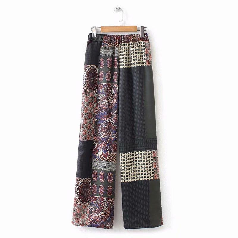 2019 Women Vintage cloth patchwork Printing wide leg pants long Trousers mujer Leisure retro totem pattern brand chic Pants
