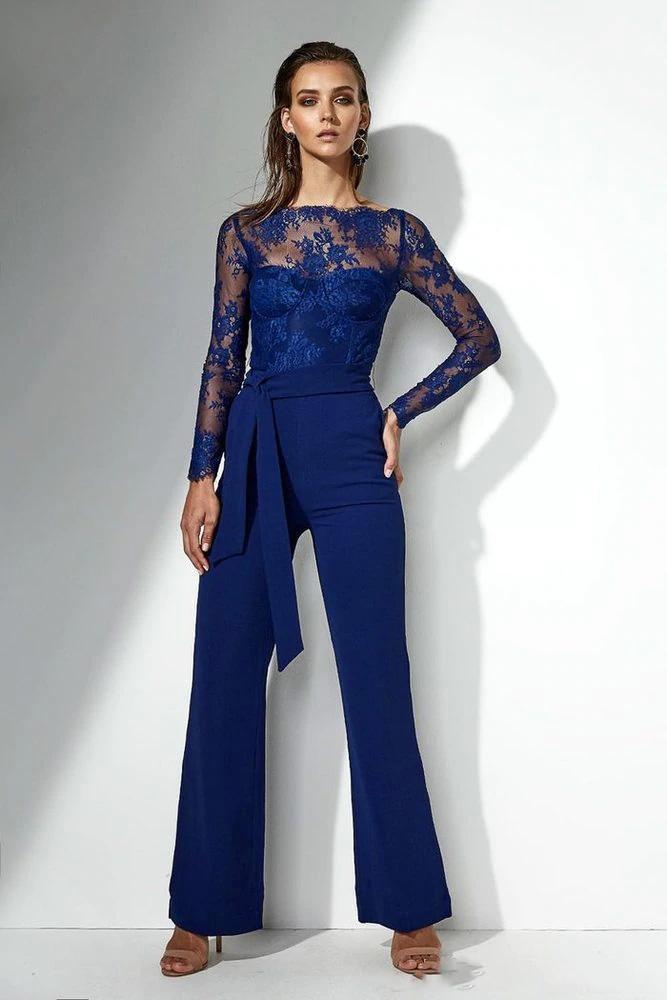 Elegante Royal Blue Lace pantalón trajes de manga larga Madre de gasa de la novia Vestido Sheer Cuello Zipper Cinturón Dumpsuit Formal Boda Vestidos de invitados