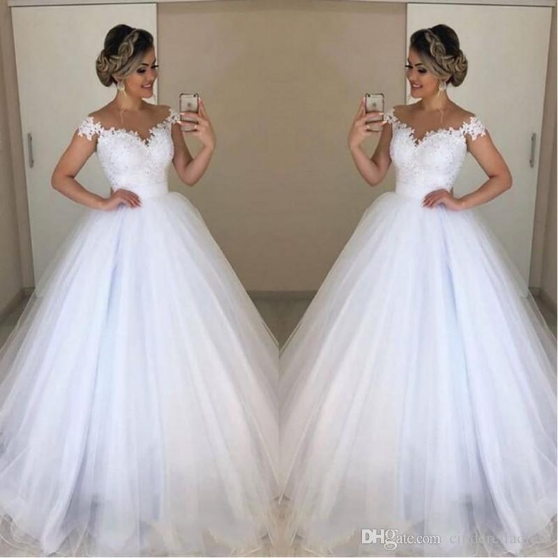 Plus Size Jewel baratos Neck Lace Dois em Um vestido de baile Vestidos de noiva apliques com trem destacável longa vestidos de noiva vestido de casamento