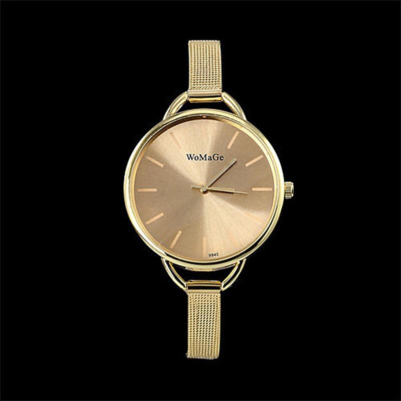 2020 Golden Women Dress Wrist Watches Brand Womage Ladies Ultra Slim Stainless Steele Mesh Mini Bracelet Quartz Watch