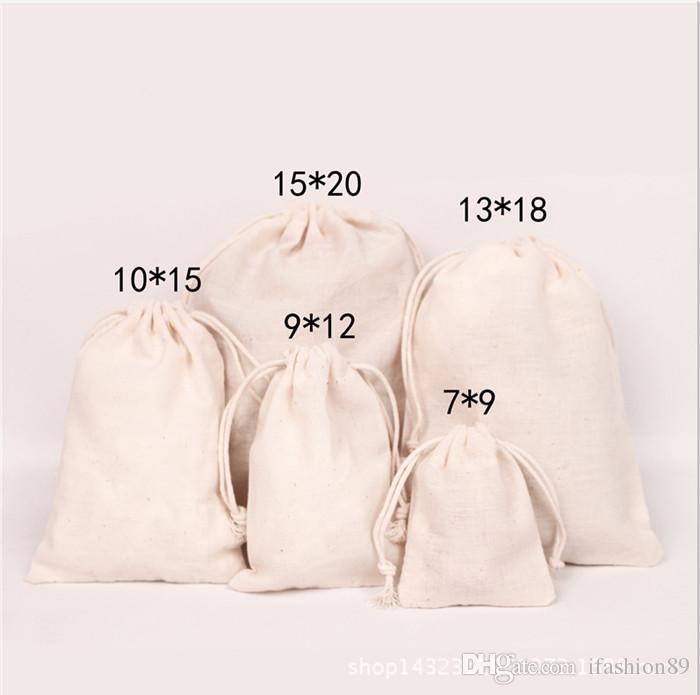 Malas de cordão de lona sacos de jóias 100% algodão Natural lavanderia favor titular moda jóias malotes
