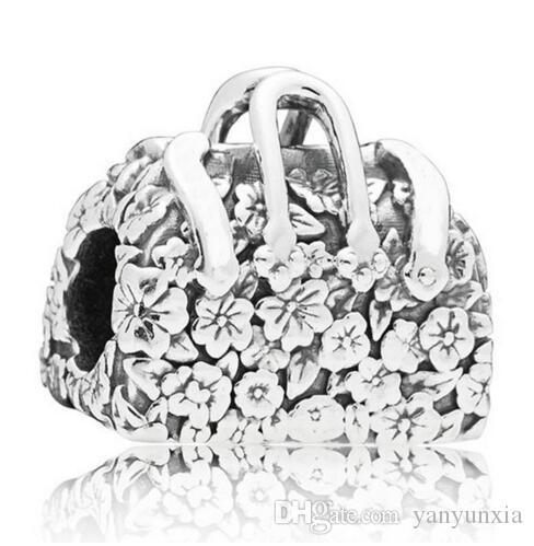 الأصلي المجوهرات 925 فضة سحر خمر ماري بوبينز حقيبة مع زهرة الخرز صالح المرأة سوار قلادة اليدويه