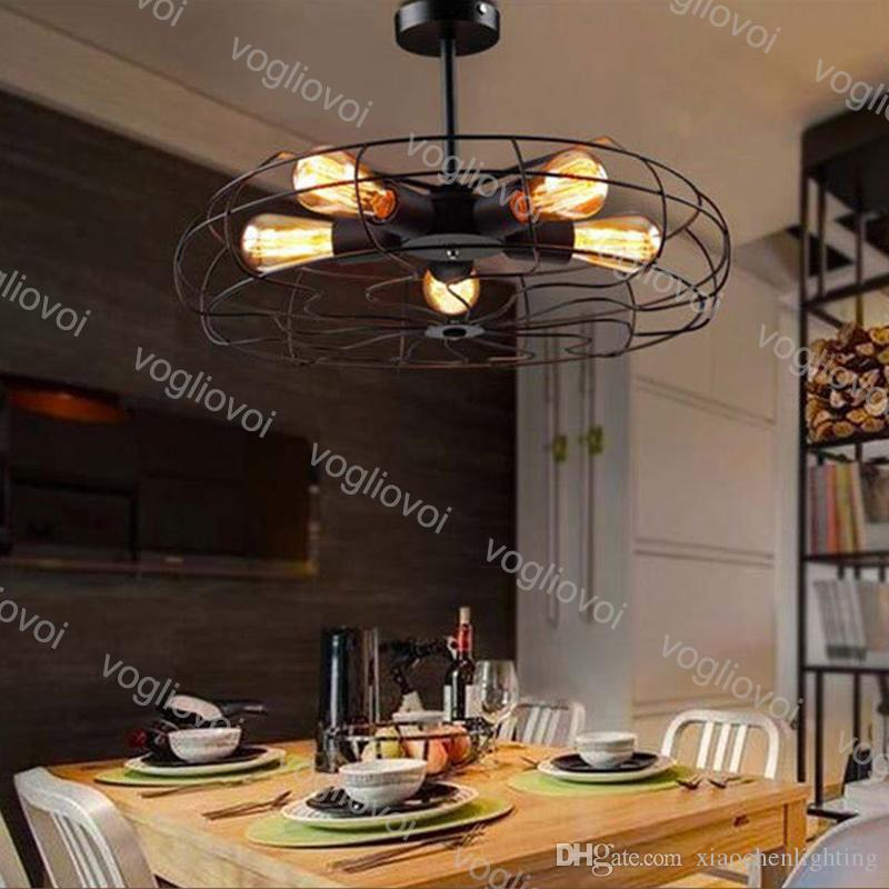 Pendant Lamps Vintage Industrial Loft Ceiling Fans Style 5Heads Iron For Clothing Store Fixture Kitchen Dinning Room Balcony Bedside DHL
