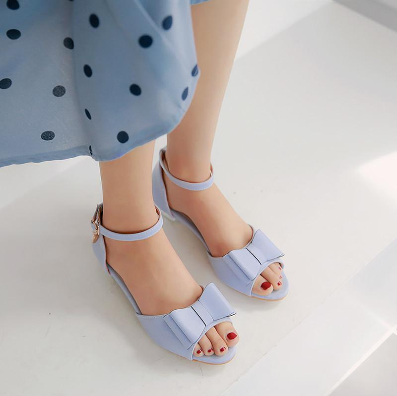 Cute Sandals for Women Pink White Blue Lolita Chunky Low Heel Shoes Ankle Strap Bow Peep Toe Party Wedding Sandal Summer