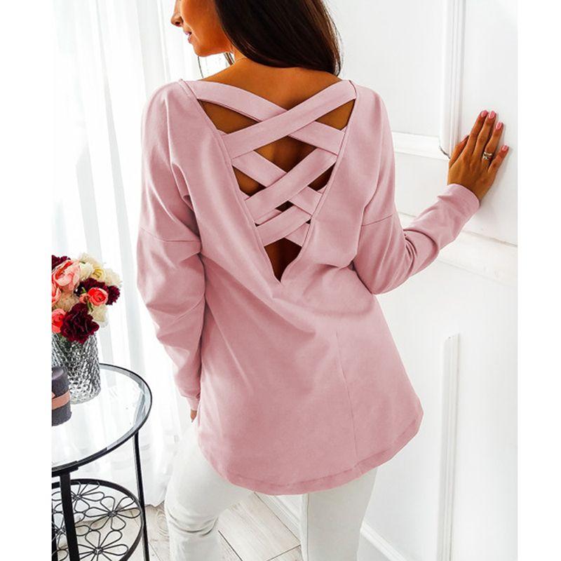 El otoño del resorte ocasional de la camisa de Calle Criss-Cross Hollow Out Back para mujer Tops y SJ788M blusones túnica Ropa Mujer Blusa