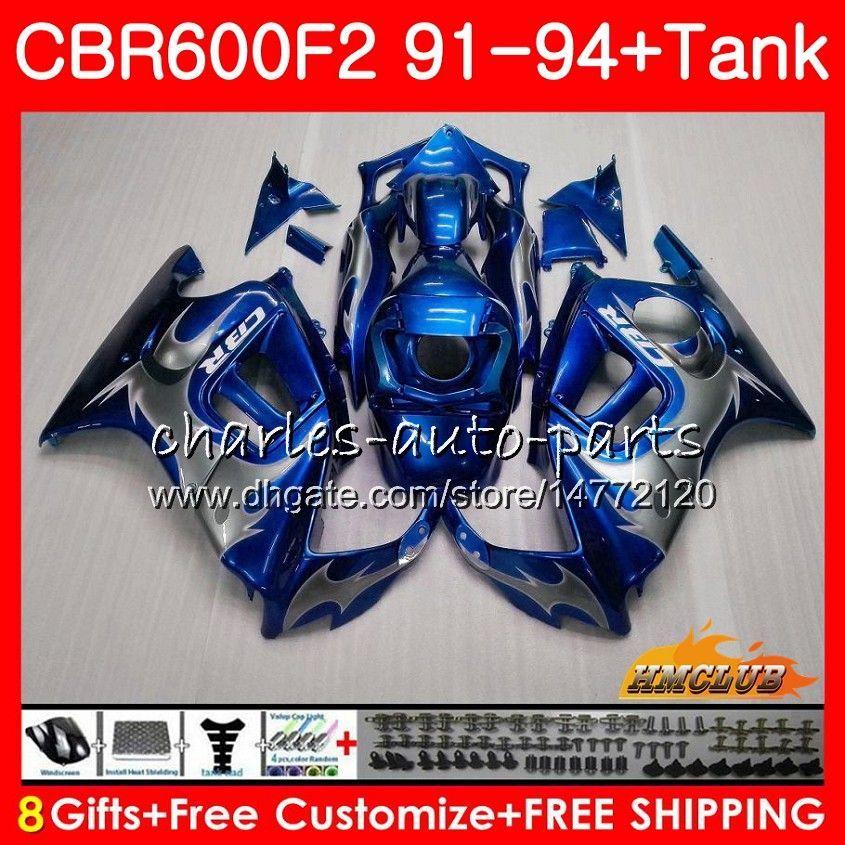 ボディ+タンク用Honda CBR 600F2 CBR600FS CBR 600 F2 91 92 93 94 40HC.128 600CC CBR600 F2 CBR600F2 1991 1992 1993 1993 1993 1994フェアリングブルーシルバー
