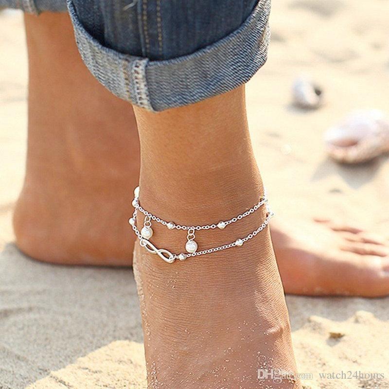 2017 Yüksek kaliteli Lady Çift İnci Zinciri Ayak bileği Halhal bilezik Seksi Barefoot Sandal Kadınlar Plajı Ayak Takı