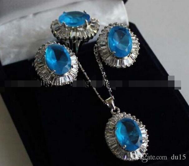 реальные женские свадебные доставка Циркон ссылка кулон ожерелье / серьги / кольцо набор