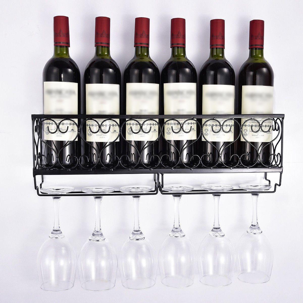 Duvar Tipi Metal Şaraplık Şarap Şişesi Raf ile Cam Tutucu Şişe Şampanya Cam Asma Tutucu Askı Raflar T200319 Şişe