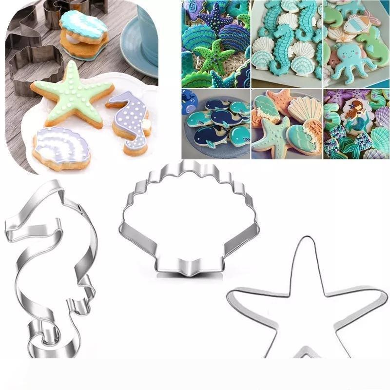 Giorno Marine Life Cookie Cutter in acciaio inox fondente taglierina cottura del biscotto muffa del biscotto della muffa bambini del biscotto di stampa Strumenti