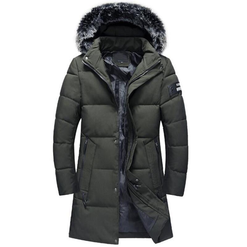 2019 Abrigos de invierno Hombres Casual Chaquetas gruesas largas Ropa de hombre Collar de piel a prueba de viento Espesar Parkas cálidas 4XL Ropa abrigo hombre
