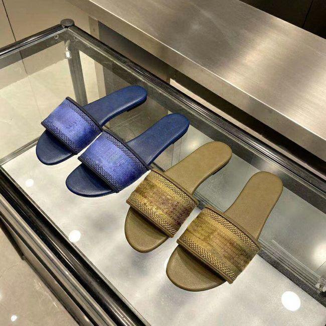 GRANDE TAGLIA 42 I sandali blu strisce bianche sandali Denim piatto Slipprs scarpe da donna estate all'aperto flip-flop spiaggia causale vera pelle Sole