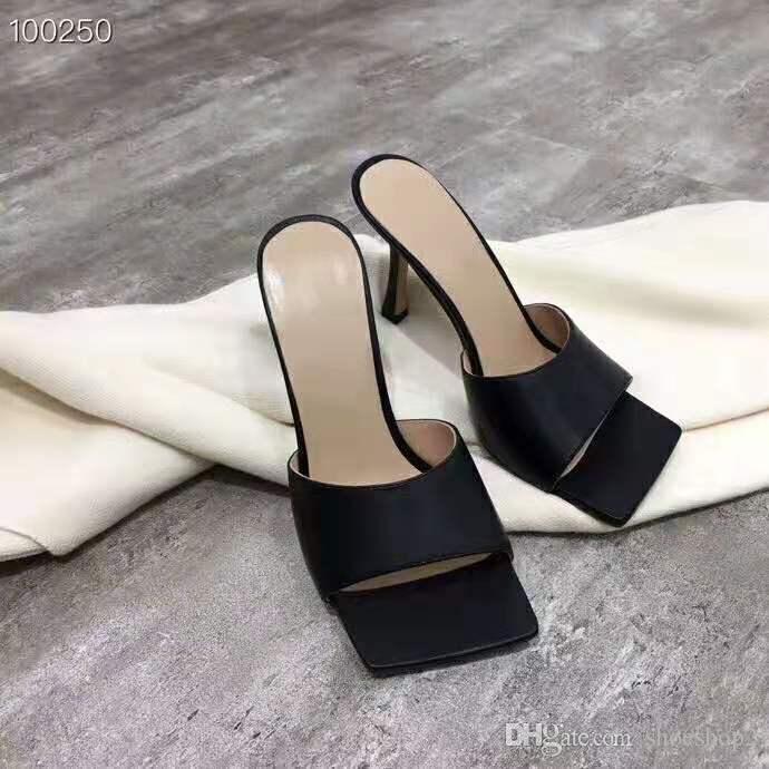 Kadınlar Kare ayak Sandal streç sandalet bayanlar gündelik Terlik Düğün Kadın yüksek topuklu rüya Nappa Flip Flop