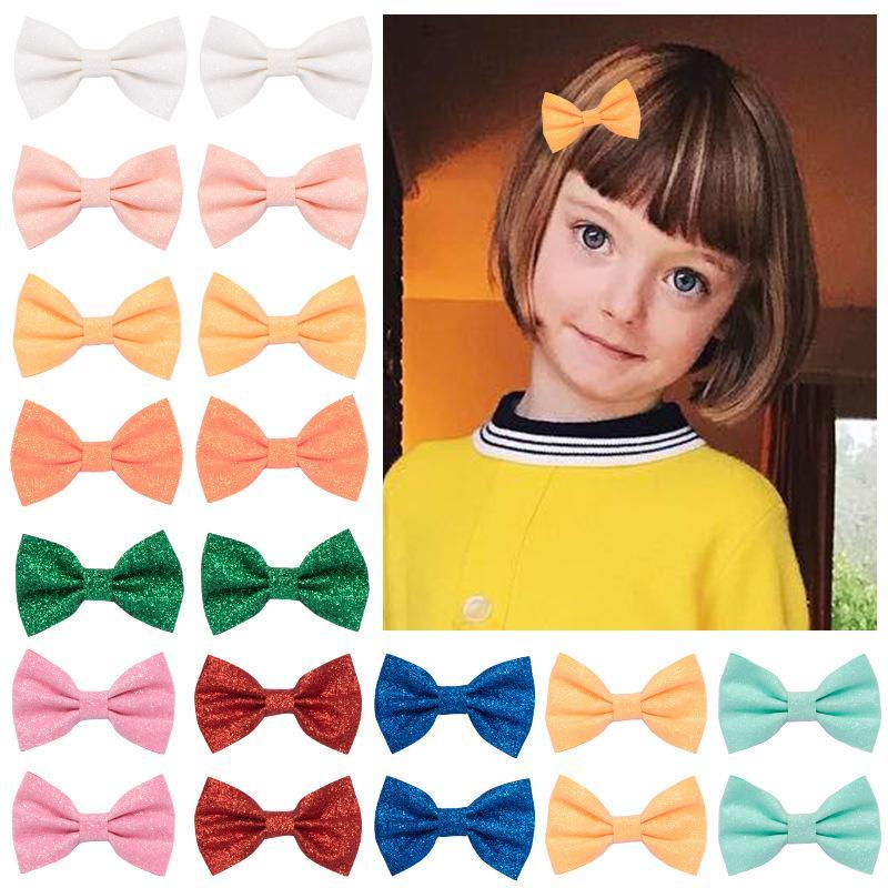 Kinder Barrettes Süßigkeit-Farben-Paillette Schmetterlings-Bogen Barrettes Prinzessin Mädchen-Haar-Pin Multi Color Großhandel