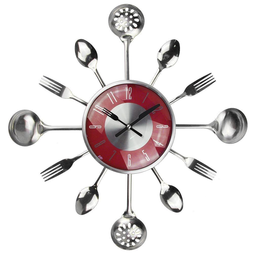 18INCH Большие декоративные настенные часы Saat Металлическая Ложка Вилка кухни Часы настенные Столовые приборы Creative Design Home Decor Relogio De Паред