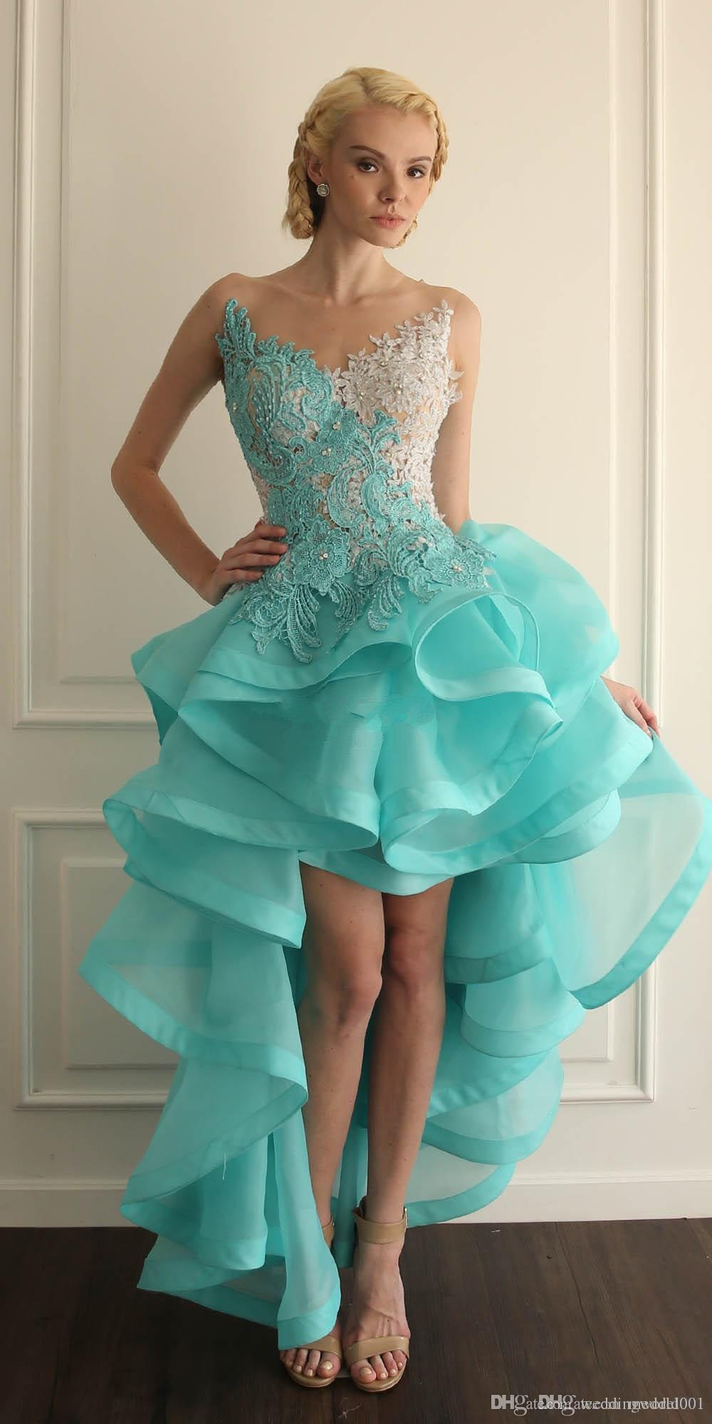 Jewel Sheer Neckline High Low Short Homecoming Dresses Turquoise Prom Gowns With Lace Applique Backless Ruffles Cocktail Gowns Custom Made