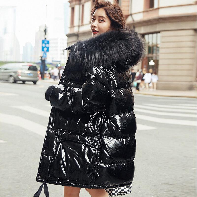 Real Natural Fur 2019 Patent Leather Winter Jacket Women Thicken Long Down Parka Hooded Female Duck Down Coat Waterproof Jacket T191111
