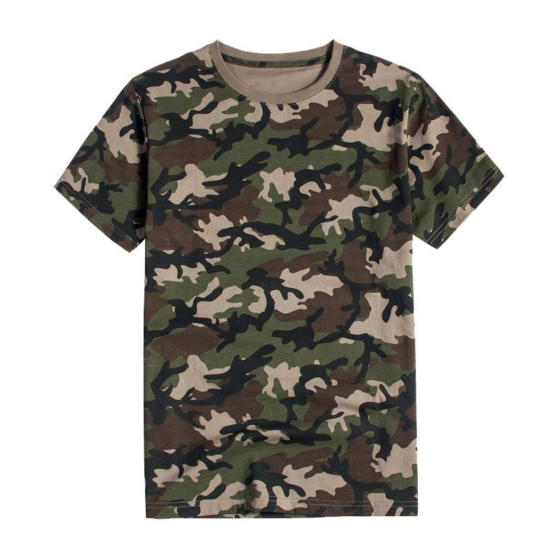 Selva camuflaje Hombres Mujeres y entrenamiento militar puro algodón de manga corta camiseta Expandir Aire libre masculino flojo camuflaje