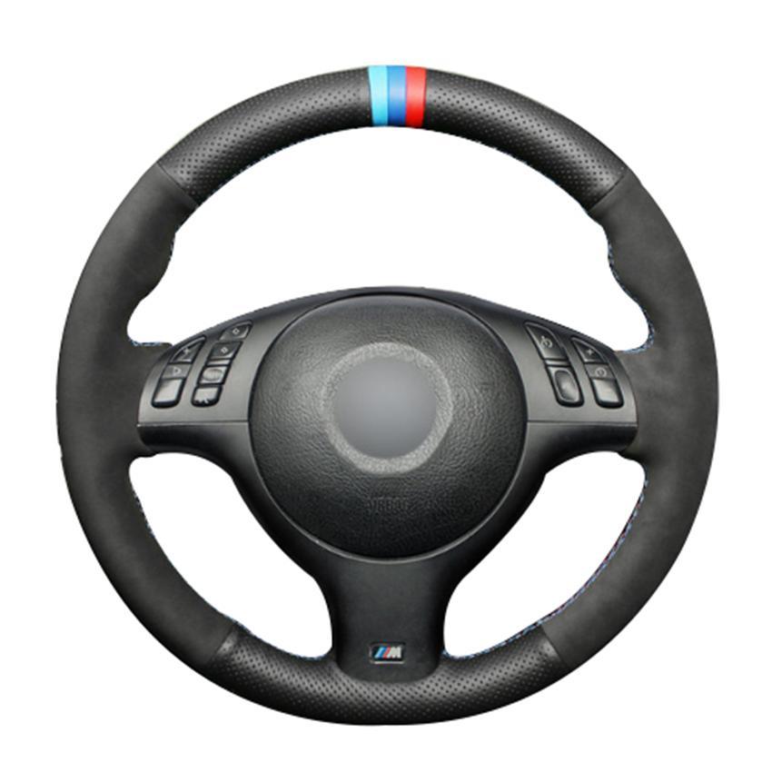 جلد أسود الطبيعية التوجيهية أسود من جلد الغزال السيارات تغطية عجلة القيادة لسيارات BMW E46 E39 330I 540i 525i 530I 330CI M3 2001-2003