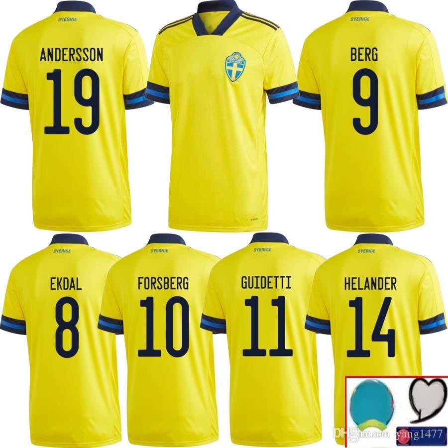 IBRAHIMOVIC Soccer Euro Cup Sweden Soccer Jerseys 2020 Blackstenius Asllani Rolfo Jakobsson Rubensson Football Shirt Kits Unfiorm camisetas