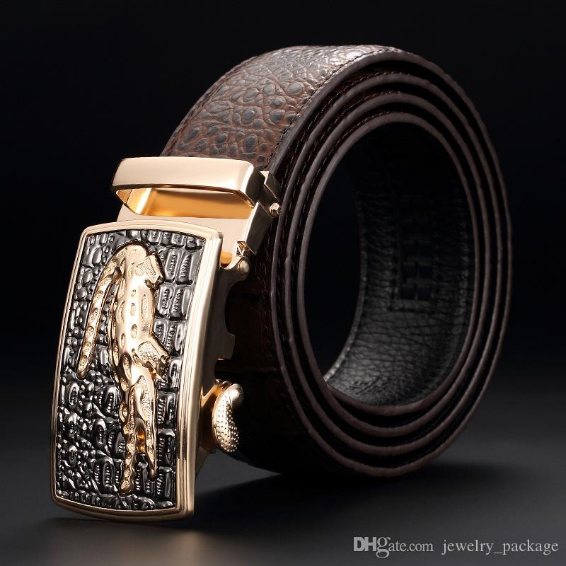 2019 Classical Crocodile Pattern Belts Mens Copper Clasp Belts Fashion Design Waistband High Quality Genuine Leather Belt