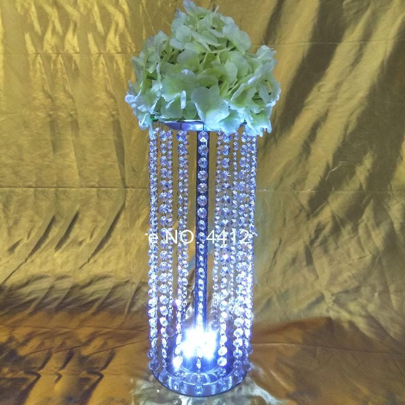 Akrilik Kristal Metal Düğün Çiçek Topu Tutucu 30cm / 70cm Masa Centrepiece Vazo Kristal Şamdan Düğün Dekorasyon Altın Gümüş Standı