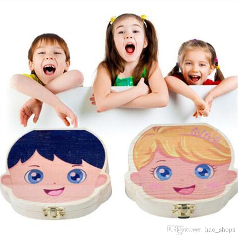 لون الطلاء الأسنان طفل صندوق تخزين للأطفال حفظ الحليب الأسنان بنين بنات صورة الأسنان الخشب منظم متساقطة الأوراق صناديق هدية الإبداعية INS