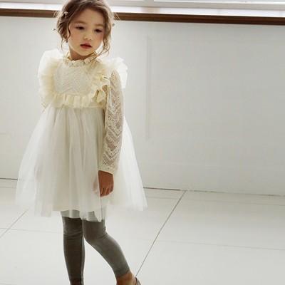 Sweet girls lace princess dress 2020 new children ruffle collar lace falbala long sleeve dress kids lace tulle tutu party dress A2109
