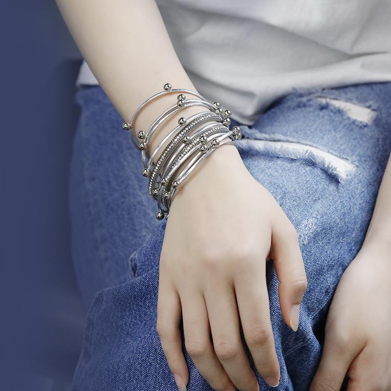 Kadınlar 2019Trendy Tasarım Boncuk Charm Çift Wrap Bilezikler Bilezik Rhinestone Kristal Bileklik Takı için çok katmanlı Deri Bilezikler