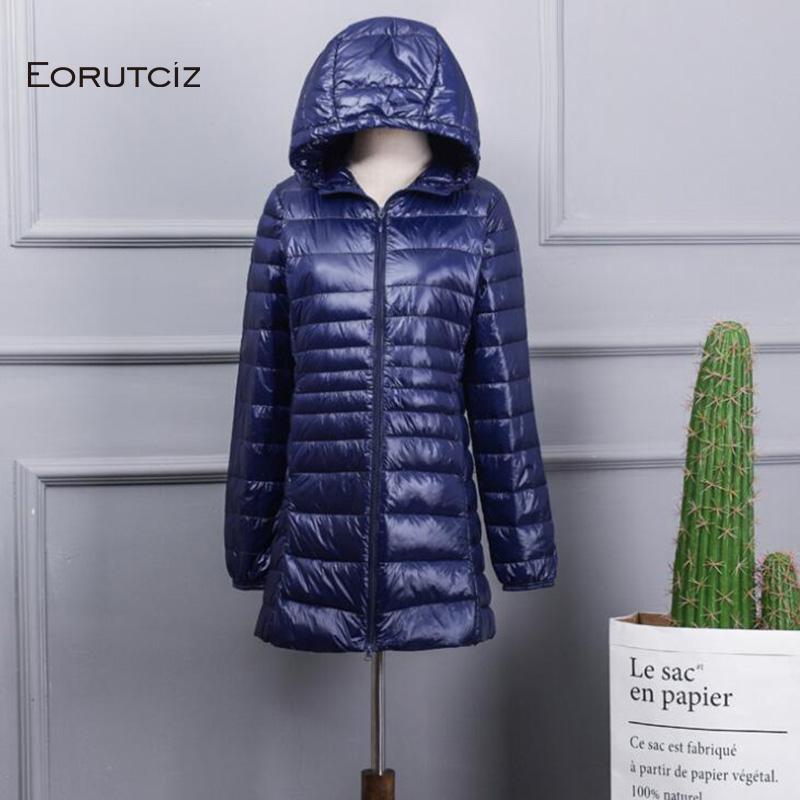 EORUTCIZ Winter Ultra Light Lange Daunenmantel Frauen Plus Größe 7XL Warme Hoodie Jacke Vintage Schwarz Herbst Ente Daunenmantel LM144