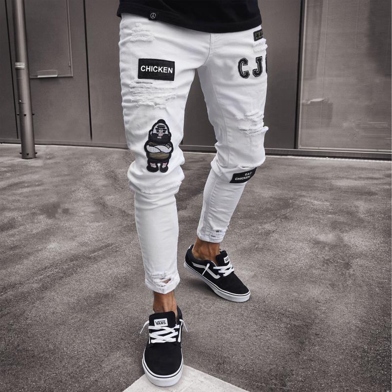 Moda para hombre Vaqueros ajustados Rip ajuste delgado denim stretch de socorro deshilachados motorista Jeans Patrones Niños bordados Lápiz Pantalones