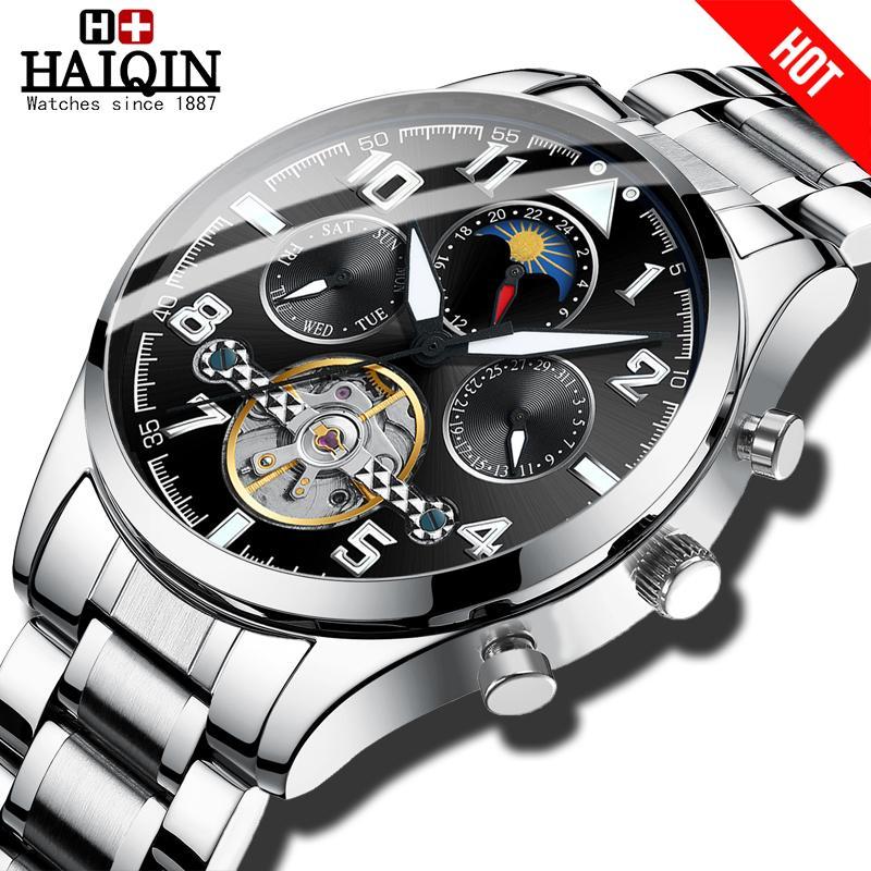 Haiqin Mens Relógios mecânicos topo da marca homens de relógios de luxo de Negócios Militar homens relógio de pulso Tourbillon Moda 2019 hombres reloj T191024