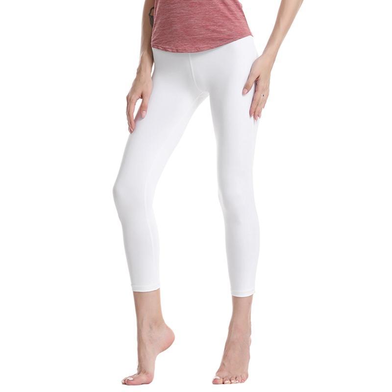 Yoga de la aptitud de los pantalones de las mujeres de secado rápido elástico de cintura alta cadera de la elevación delgada de entrenamiento deportivo nueve pantalones