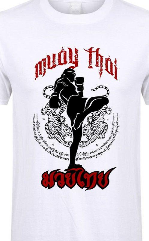 Tee Shirts Muay Thai Kick Thailand Martial Art Logo Badge Men Pre