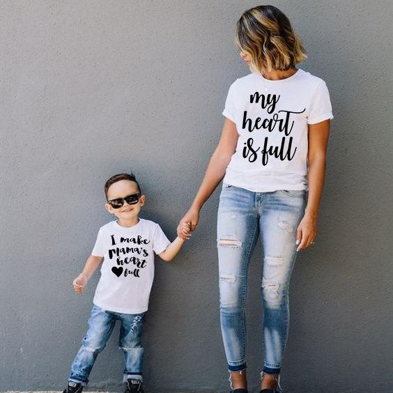 Meu coração está cheio eu faço Heart Full Tee MommyMe T-shirt do Mama mãe e manga curta filho camiseta Família camisa de harmonização do Outfits