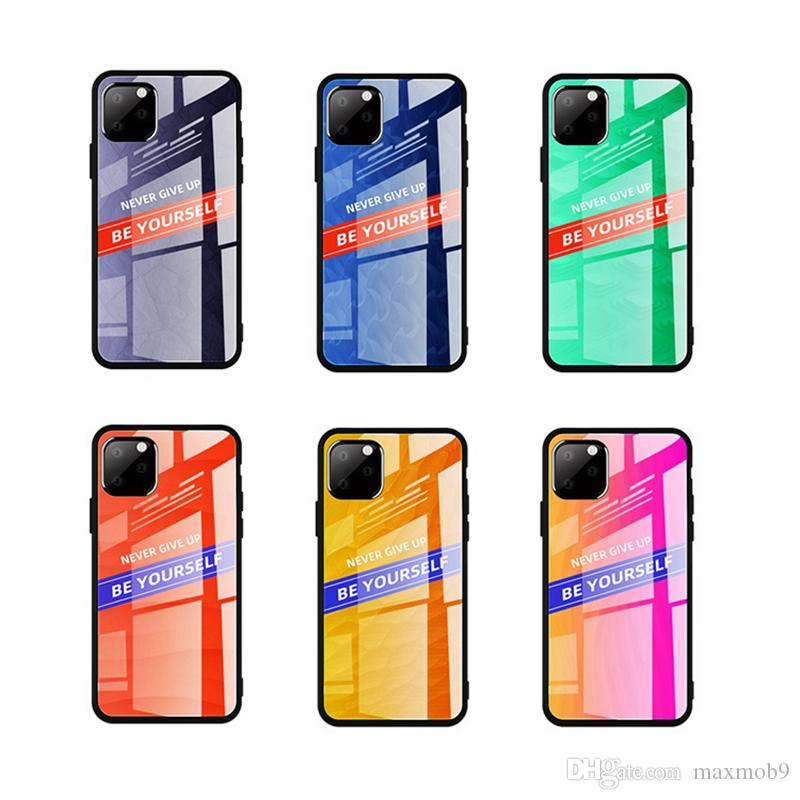 New fashion For Iphone 11 pro xs max x xr 8 7 6 plus phone case with glass hard back cover colorful case