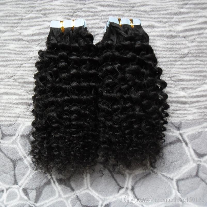 Mongolian Kinky Curly Hair Tape In Extensions Human Hair 40pcs Skin Weft Remy curly tape hair extensions 40g/pac 100G