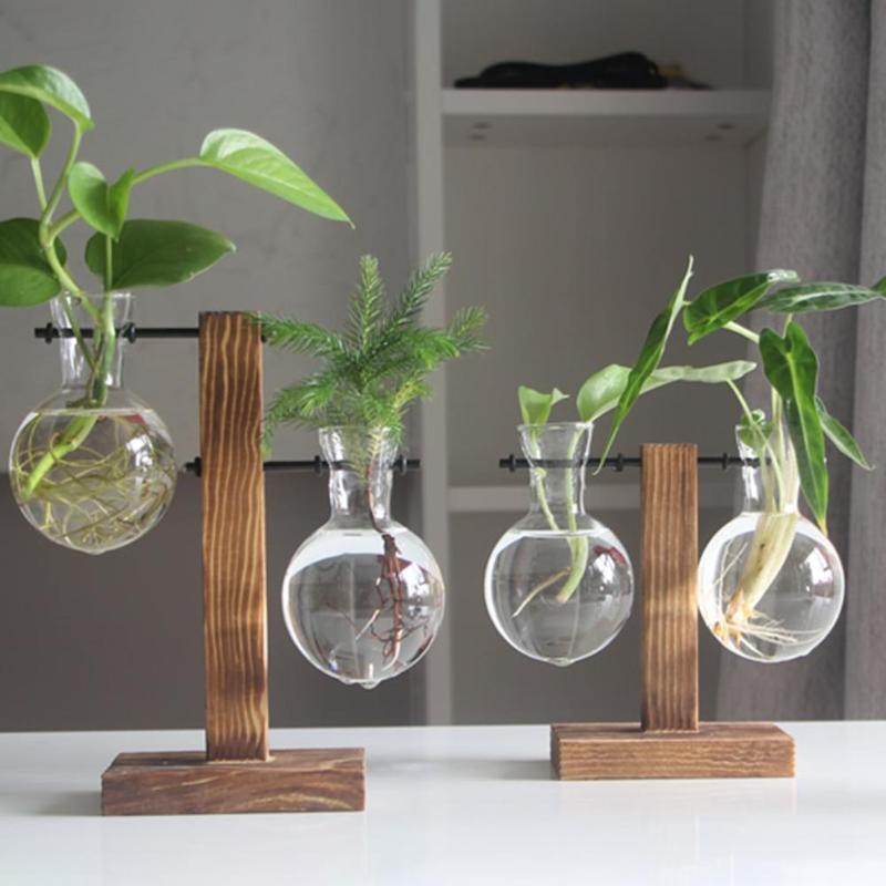 Florero de vidrio y madera Planter terrario Mesa de escritorio hidropónico de plantas Bonsai Tiesto bandeja flor Estante de escritorio Decoración