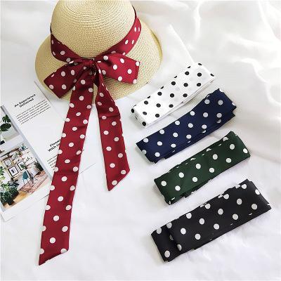 2020 new Vintage Polka Dot Ribbon Silk Long Neck Tie Scarf For Women Ladies Satin Hair Tie Band Multifunction Scarves