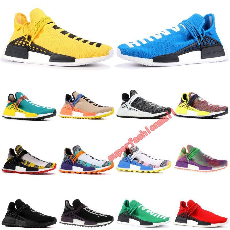 With Box Human Race Mens stylist Shoes HU Runner Pharrell Williams Yellow Core Black Running Shoes Men Women Sneakers 36-45