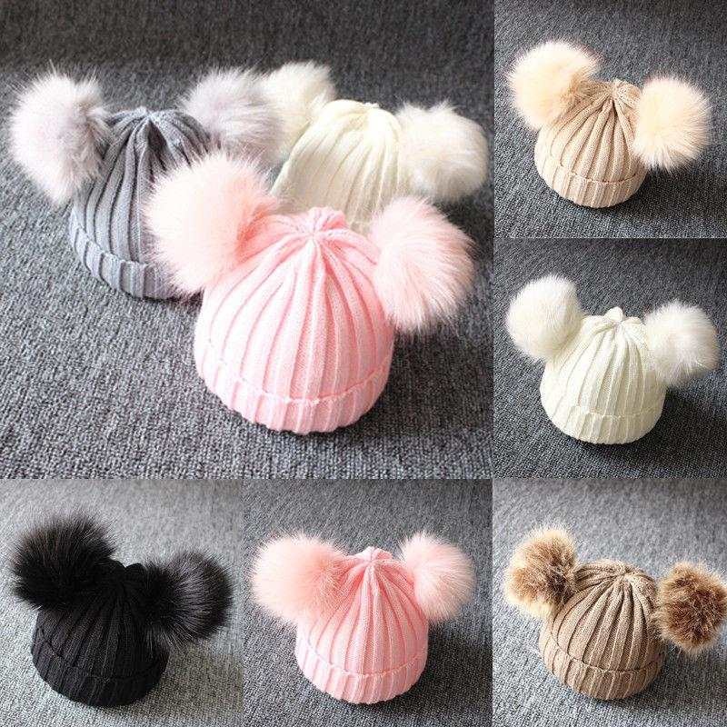 Cute Newborn Baby Winter Warm Hats Infant Kids Girls Boys Knit Hat With Pompom Ball Beanie Caps Fashion Design Toddler Hats