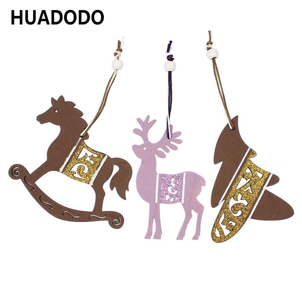 HUADODO 3 Stücke Holz Weihnachtsanhänger Ornamente DIY Holz Handwerk für Zuhause Weihnachtsbaum Weihnachtsfeier Dekorationen Kinder Spielzeug