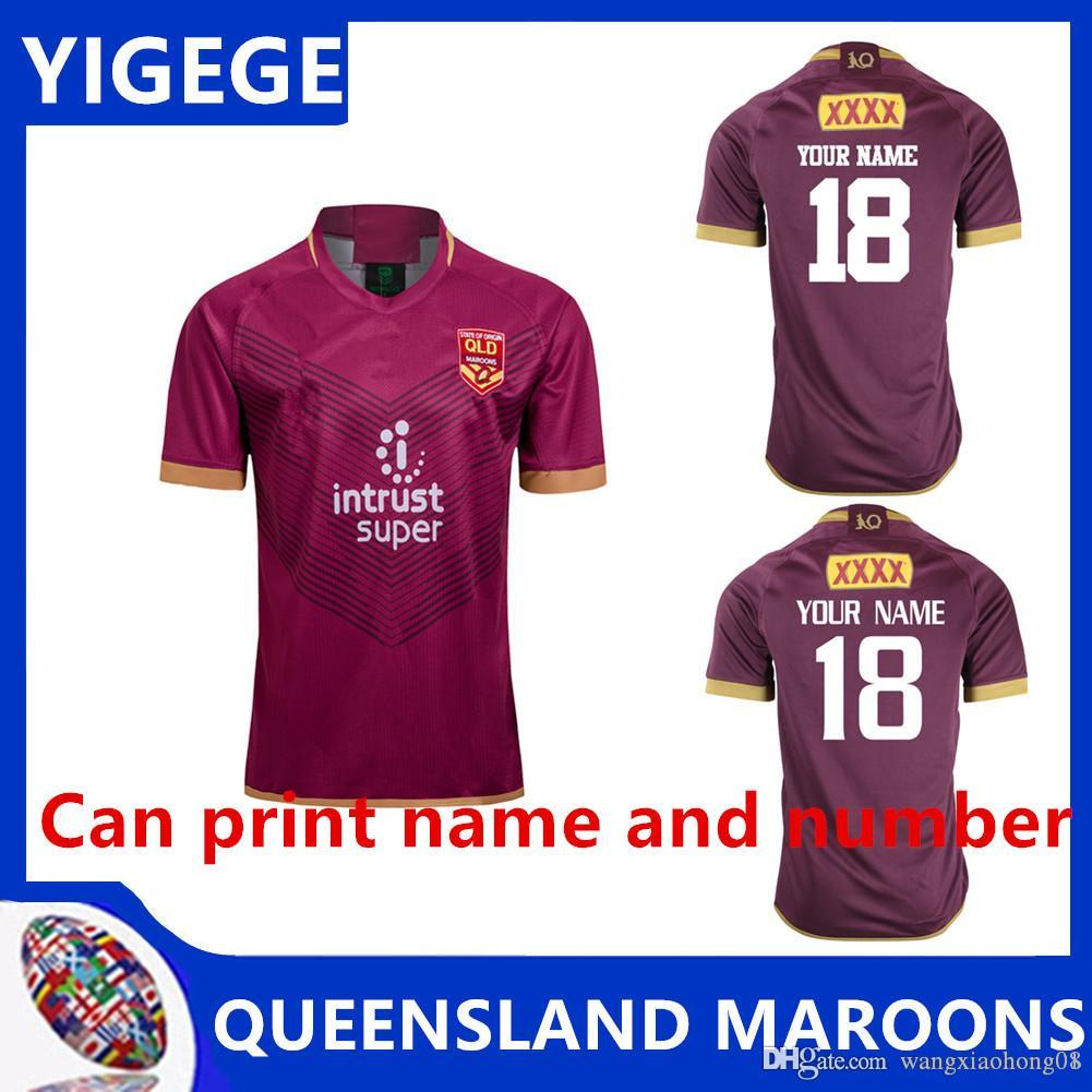 QLD Maroons 2018 MEN'S HERS JERSEY نيو كوينزلاند الرجبي الفانيلة أعلى جودة QLD Maroons Rugby Euro حجم إضافي كبير S-5XL (يمكن الطباعة)