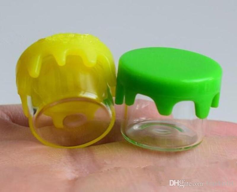 elektronische zigaretten Lebensmittelqualität Antihaft-Tupfer Glasgefäße Wachsbehälter 6 ml Konzentratbehälter Flasche mit rot-grün-gelbem Silikondeckel